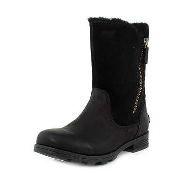 6f248f87c9b5e2 SOREL Womens Emelie Foldover Fleece Winter Snow Waterproof Mid Calf Boot -  Black - 5