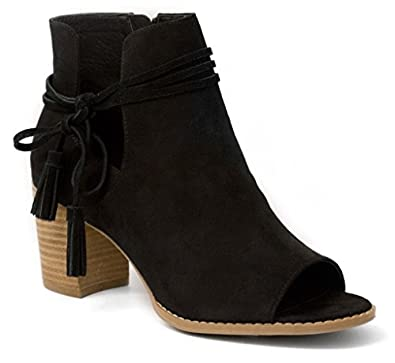 Women's Alana Tasseled Ankle Boot Peep Toe Bootie