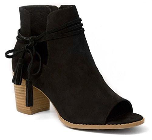 Mari A Women's Alana Tasseled Ankle Boot Peep Toe Bootie 8 ()