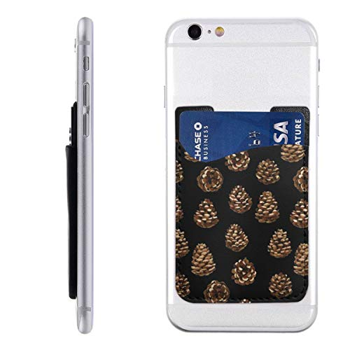 Pine Cone Black Cell Phone Pockets Pouch Card Holder Wallet for Back of Phone
