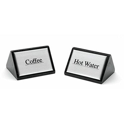 HUBERT Coffee Service Sign Triangular Wooden Beverage Sign Cream - 3'' W x 1 3/4 H by Hubert