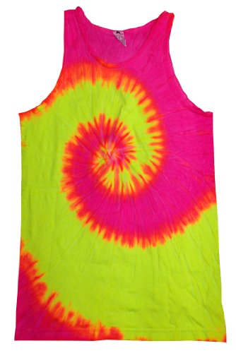 Colortone Unisex Tie Dye Tank Top, Fluorescent Swirl, Medium