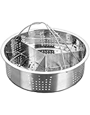 Semoic Trio Separator Set Steel Steamer Basket Rack Accessories Fast Steaming Grid Basket Divider for Cooking