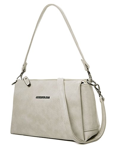 Ivory Pu Leather (Small Crossbody Bag for Women PU Leather Zipper Multi Purse Shoulder Bag)