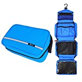 Hanging Toiletries Bag, Travel Waterproof Toiletry Wash Bag, Boic Hangable and Fold up Out Shaving Cosmetic Kit, Mesh and Compact Compartment, High Quality Zipped Premium for Men and Women (Blue)