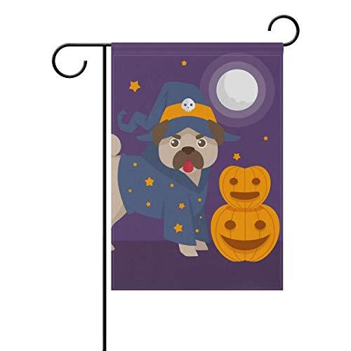 Anhuishop Funny Pug with Halloween Costume Garden Flag 28