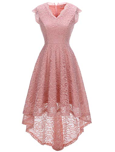 MODECRUSH Womens Ruffle Sleeve Bridesmaid Formal Hi Lo Floral Lace Cocktail Party Dresses V Neck S Blush