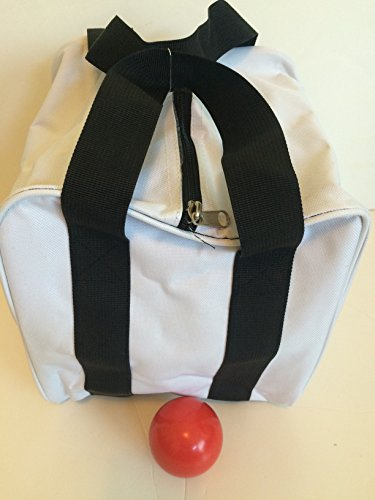 Unique Bocce Accessories Package - Extra Heavy Duty Nylon Bocce Bag (White with Black Handles) and Red pallina by BuyBocceBalls