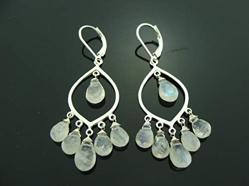 Rainbow Moonstone Chandeliers 925 Sterling Silver Leverback Earrings