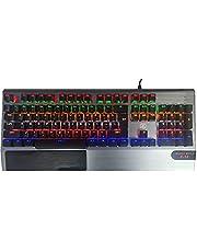 لوحة مفاتيح نايت وولف E14 للالعاب بفضاء لوني ار جي بي من تكنو زون - اسود وفضي