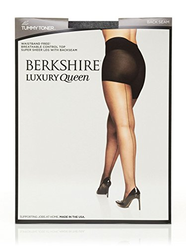 Nudes Essential Toner - Berkshire Women's Plus Size Luxury Queen Tummy Toner Backseam Pantyhose, Fantasy Black, 1X-2X