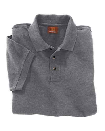 Harriton Mens Ringspun Cotton Pique Short-Sleeve Polo M200 -CHARCOAL 3XL