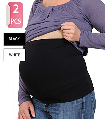 Womens Maternity Belly Band Seamless 2 Pack Everyday help and support Bands for Pregnancy White,Black S