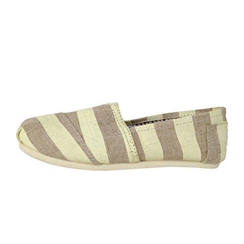 Loafers Beige 5cm Durevole Slip Moda Scarpe Scarpe Striscia Uomo 39 Flats Basse on Dooxii 24 Espadrillas Casuale Unisex Donna wWZcXZqfU