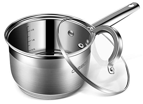 (2 Quart Saucepan, CUSIBOX Stainless Steel Saucepans with Glass Lid and Aluminum Core - Dishwasher Safe)