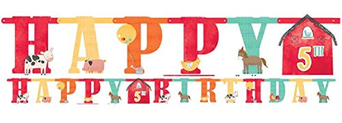 Boys Girls Babies Toddlers Farm Animals Farmyard Barnyard Birthday Party Personalised Age Jumbo Banner Tableware ()