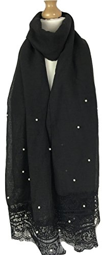 New Ladies Soft Pearl Beaded Large Scarf (Black) ()