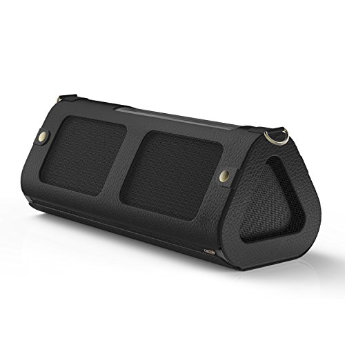 Price comparison product image MoKo Carrying Case for OontZ Angle 3XL, Portable Speaker Cover PU Leather Protective Bag Sleeve Skins, with Holding Strap & Carabiner, Black