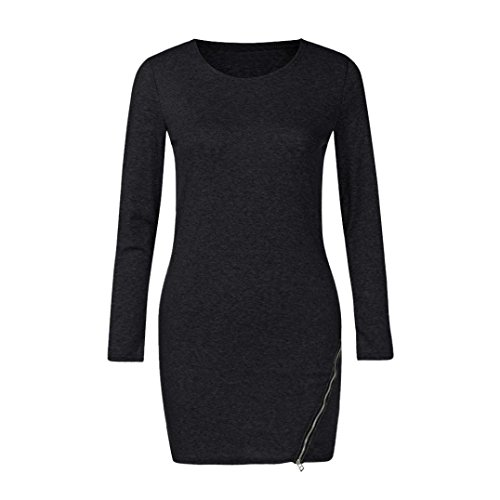 Women Long Sleeve Lady Zip Side Split Casual Pullover Long Sweatshirt Tunic Tops (Black, XL)