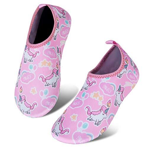 Toddler Kids Water Shoes Lightweight Non-Slip Aqua Socks Shoes for Beach Walking for Boys Girls Toddler(Unicorn/waterPink,18/19)