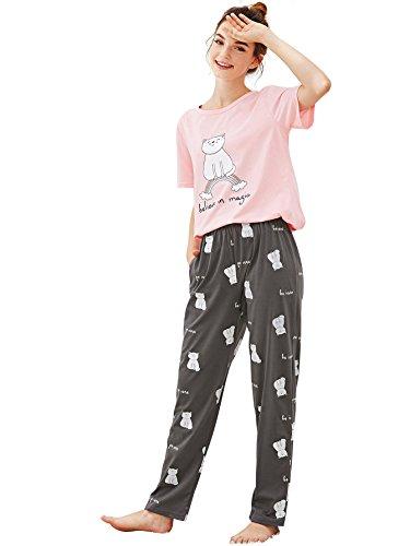 6329ec5c5d SheIn Women s Summer Cartoon Cat Print Short Sleeve Pajamas Set ...