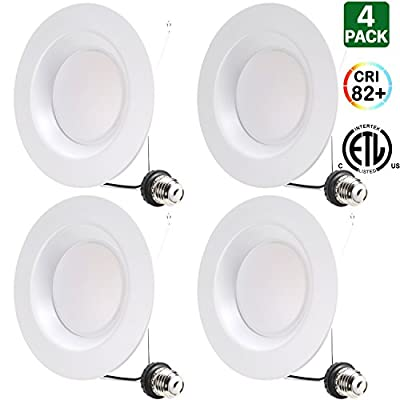"""Hykolity 5/6"""" LED Downlight Recessed Can Light Integrated Baffle Trim Design Dimmable Retrofit Ceiling Lamp 15W [100W Equivalent] 1100lm 4000K Neutral White Energy Star-Pack of 4"""