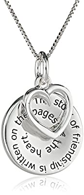 """Sterling Silver """"The Story of Friendship"""" Disc and Heart Pendant Necklace, 18"""""""
