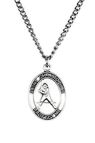 Christopher Baseball - Mens Pewter Saint Christopher Sports Athlete Medal, 1 Inch - Baseball