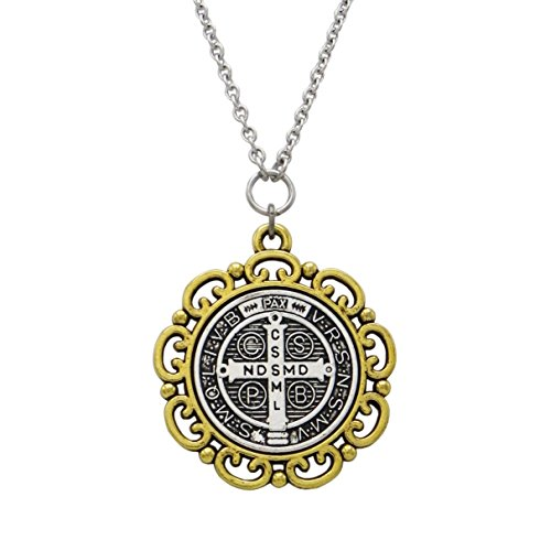 - Rosemarie Collections 2-Tone St Benedict Cross Medallion Religious Pendant Necklace