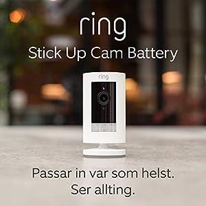 Ring Stick Up Cam Battery   HD-säkerhetskamera med tvåvägskommunikation   30 dagars kostnadsfri provperiod på Ring Protect Plan ingår   Vit
