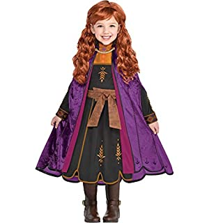 Party City Frozen 2 Anna Travel Halloween Costume for Girls, Disney, Small (4-6), Includes Dress and Cape