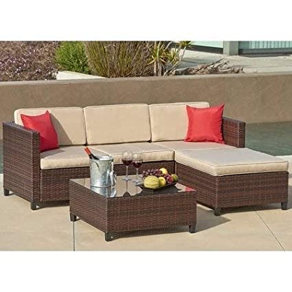 Magnificent Suncrown Outdoor Furniture Sectional Sofa 5 Piece Set All Weather Brown Checkered Wicker Brown Seat Cushions Modern Glass Coffee Table Patio Gmtry Best Dining Table And Chair Ideas Images Gmtryco