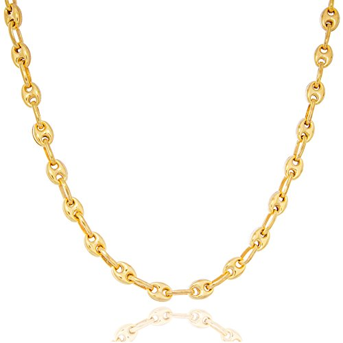 Solid Gold Marine Link Chain Necklace Made in Italy of 14K Yellow Gold 4mm Wide by 18