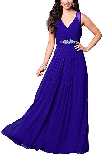 Prom Women Long Blue V Dresses Bridal Formal L070 Royal Beauty for Chiffon Neck Evening Gowns wCvqIWW5gn
