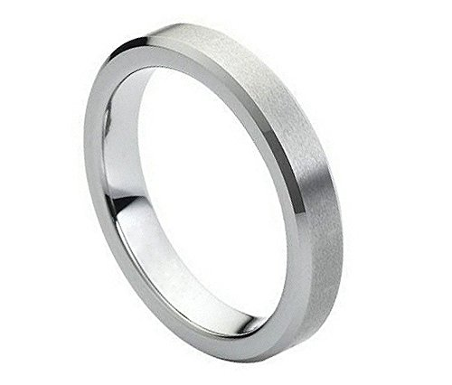 Satin Tungsten Hers (4mm Tungsten Carbide Beveled Edge Satin Finish Wedding Band Ring for Him or Her)