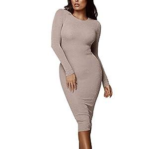 Landfox Maxi Dress,Big, Autumn Casual Dress,Women Long Sleeve Dress Loose Party Dress Sundress Khaki