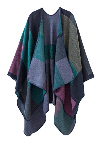 (Urban CoCo Women's Color Block Shawl Wrap Open Front Poncho Cape (Series 1-purple))