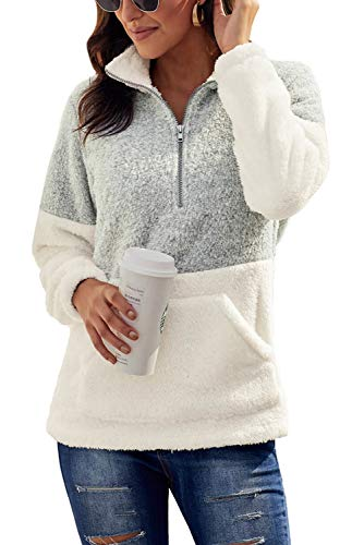 Chase Secret Womens Fall Oversized Sherpa Pullover with Pockets Zip Sweatshirt X-Large Grey