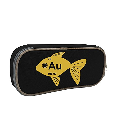 KuenT Periodic Table Goldfish Students' Big Pencil Bag Pen Case Pouch 3D Holder Sack Black