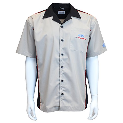 David Carey Ford Performance Pit Crew Shirt – Grey   Black – Button Up  Collared Short 2c9b2e672a2a