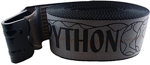 27 FOOT GREY PYTHON WEB WINCH STRAP WITH FLAT HOOK