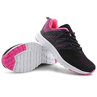 JABASIC Women Casual Breathable Running Sneakers Lightweight Tennis Shoes (8,Black/Fuchsia)