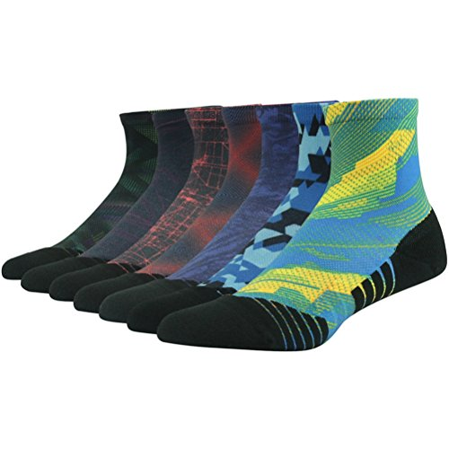 (HUSO Hiking/Trekking Socks Bulk Pack Colorful Smooth Toe Seam No Blister Outdoor Socks for Men Women,7 Pairs (Assorted,L/XL) )