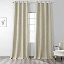 HPD Half Price Drapes FLCW-CBO193-96-GR Vintage Thermal Cross Linen Weave Max Blackout Grommet Curtain (1 Panel), 50 X 96, Toasted Tan
