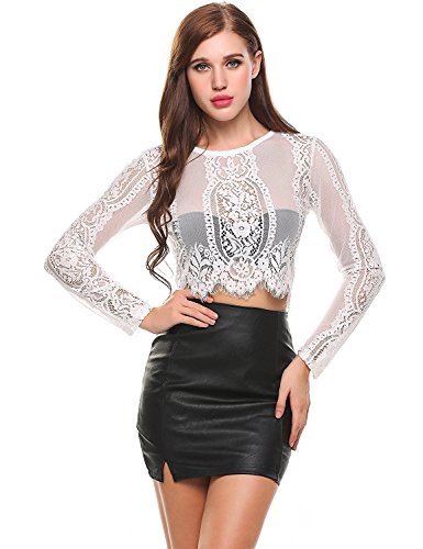 Kancystore Womens Sexy Sheer Patchwork Crop Top Lace Blouse White L