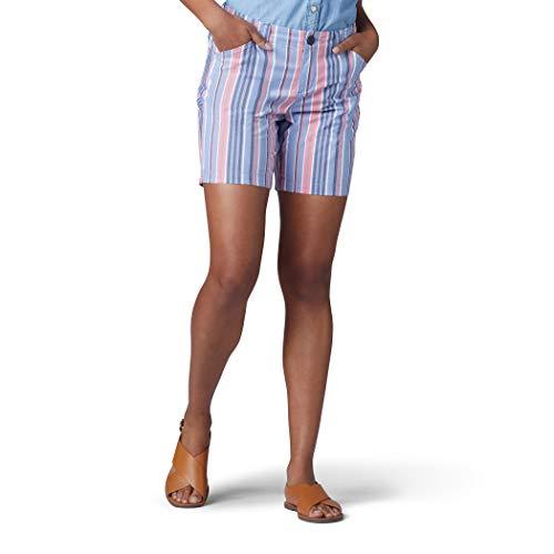 LEE Women's Regular Fit Chino Walkshort, Dusty Blue Bermuda Stripe, 4