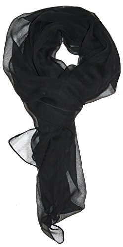- Love Lakeside Modern Chiffon Solid Color Silk Blend Oblong Scarf Black