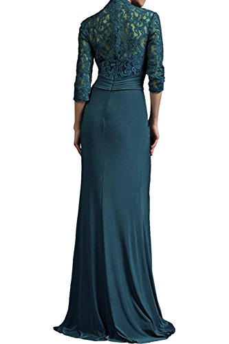 Abendkleider Festlichkleider Langarm Gruen Dunkel Neu Etuikleider Charmant Spitze Brautmutterkleider Blau Jaeger Damen qS6wp6