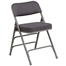 Flash Furniture AW-MC320AF-GRY-GG HERCULES Series Premium Curved Triple Braced and Quad Hinged Gray Fabric Upholstered Metal Folding Chair