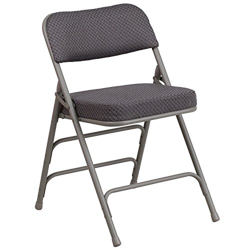 Flash Furniture HERCULES Series Premium Curved Triple Braced & Double Hinged Gray Fabric Metal Folding Chair - Hinged Gray Metal
